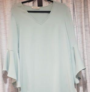 Seafoam green bell sleeve shirt dress